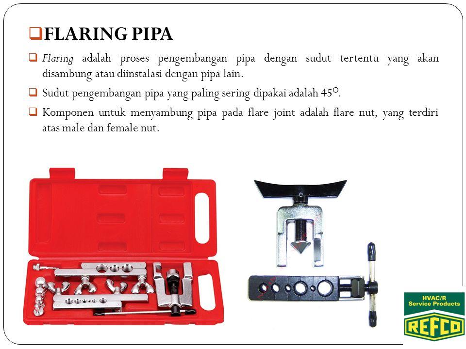 FLARING PIPA Flaring adalah proses pengembangan pipa dengan sudut tertentu yang akan disambung atau diinstalasi dengan pipa lain.