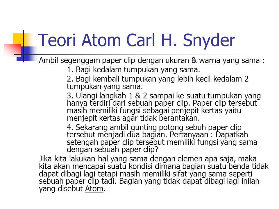 Teori Atom Carl H. Snyder
