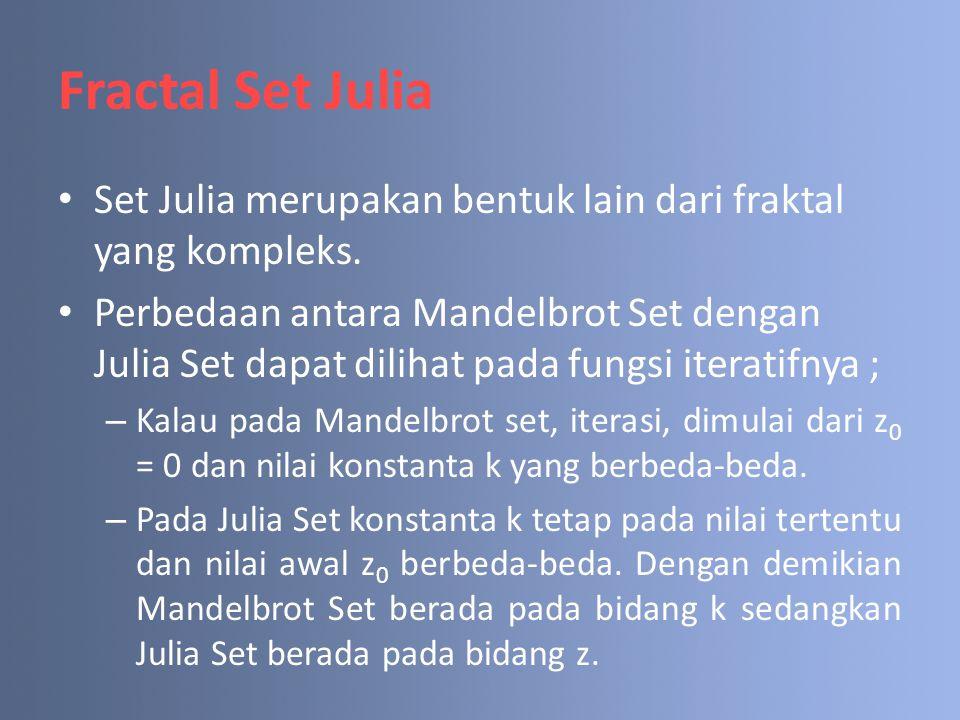 Fractal Set Julia Set Julia merupakan bentuk lain dari fraktal yang kompleks.