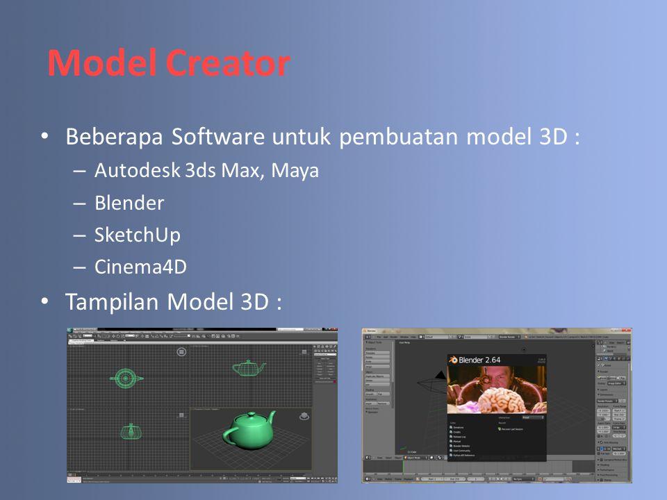 Model Creator Beberapa Software untuk pembuatan model 3D :