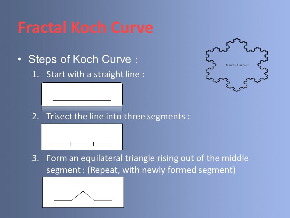 Fractal Koch Curve Steps of Koch Curve : Start with a straight line :