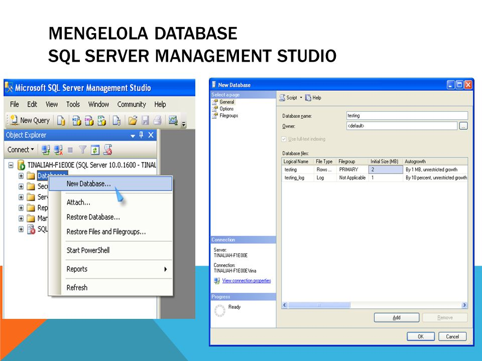 Mengelola database sql server management studio