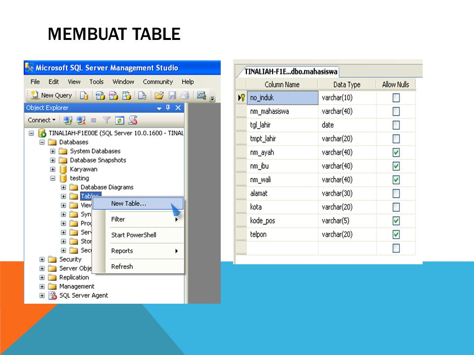 Membuat table