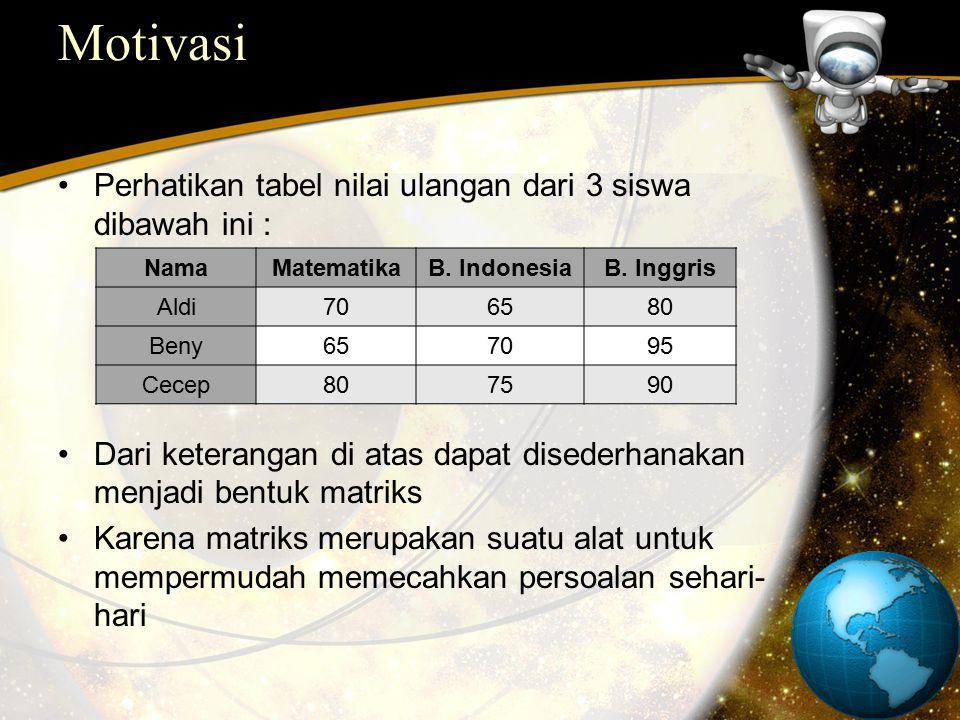 Motivasi Perhatikan tabel nilai ulangan dari 3 siswa dibawah ini :