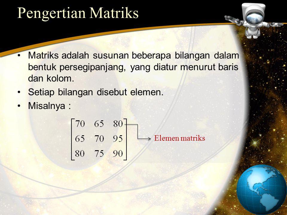 Pengertian Matriks Matriks adalah susunan beberapa bilangan dalam bentuk persegipanjang, yang diatur menurut baris dan kolom.