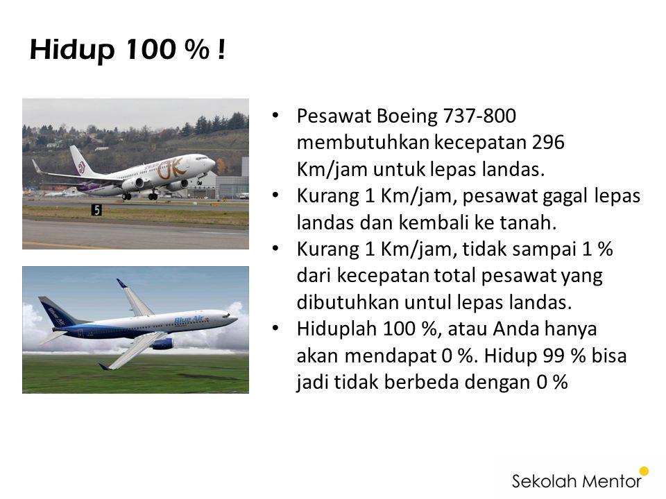 Hidup 100 % ! Pesawat Boeing 737-800 membutuhkan kecepatan 296 Km/jam untuk lepas landas.