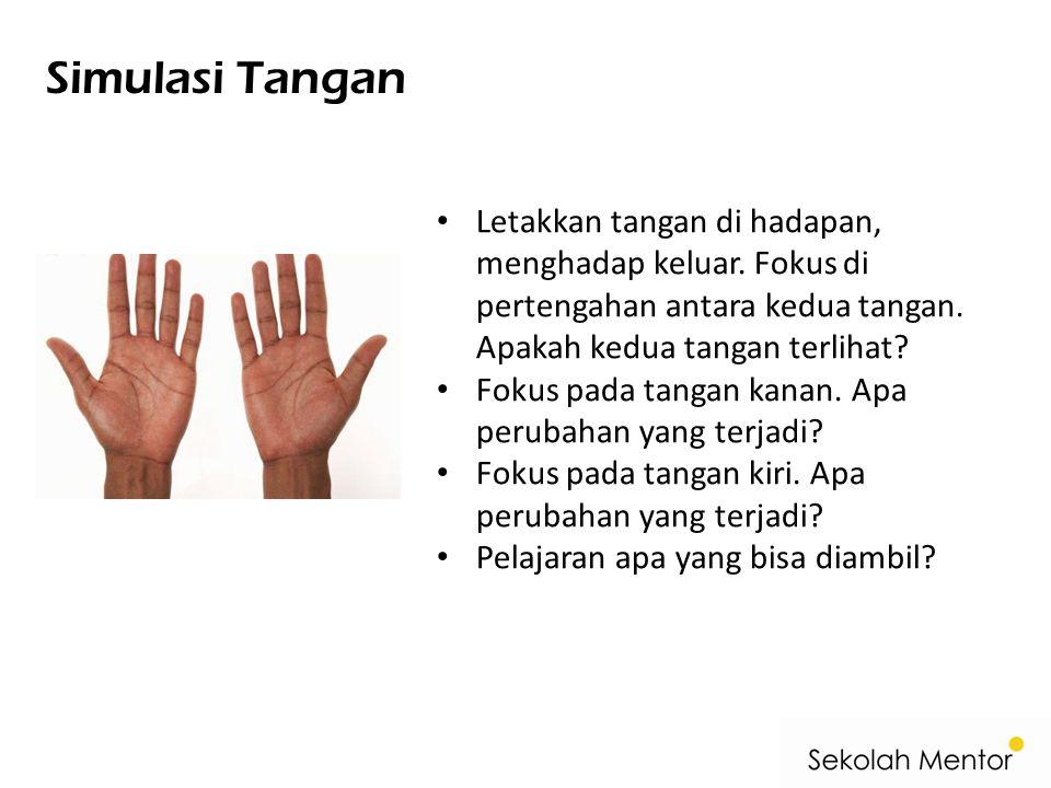 Simulasi Tangan Letakkan tangan di hadapan, menghadap keluar. Fokus di pertengahan antara kedua tangan. Apakah kedua tangan terlihat