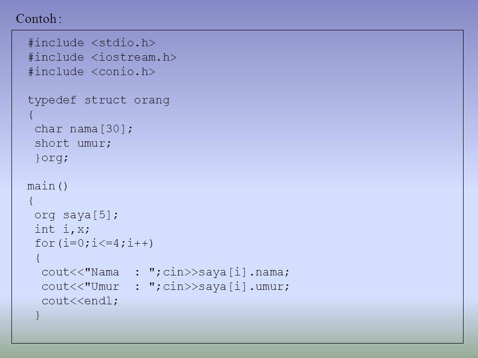Contoh : #include <stdio.h> #include <iostream.h>
