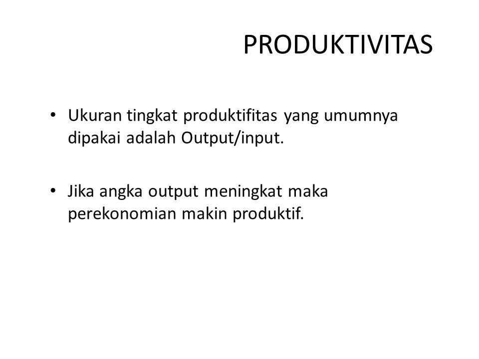PRODUKTIVITAS Ukuran tingkat produktifitas yang umumnya dipakai adalah Output/input.
