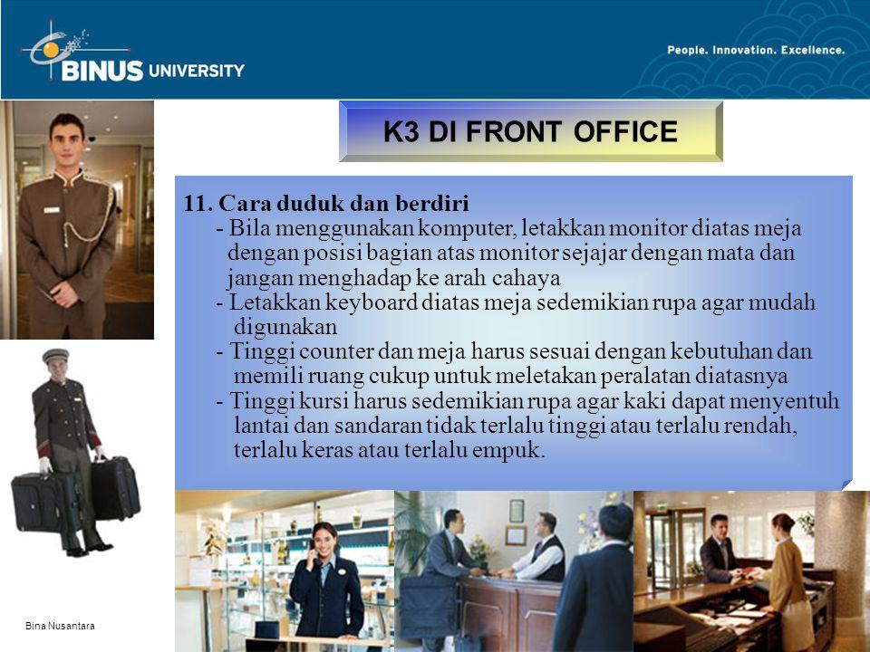 K3 DI FRONT OFFICE 11. Cara duduk dan berdiri