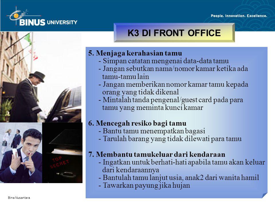 K3 DI FRONT OFFICE 5. Menjaga kerahasian tamu