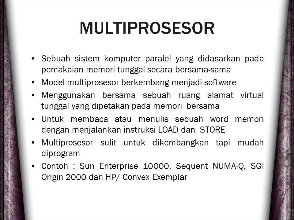 MULTIPROSESOR Sebuah sistem komputer paralel yang didasarkan pada pemakaian memori tunggal secara bersama-sama.