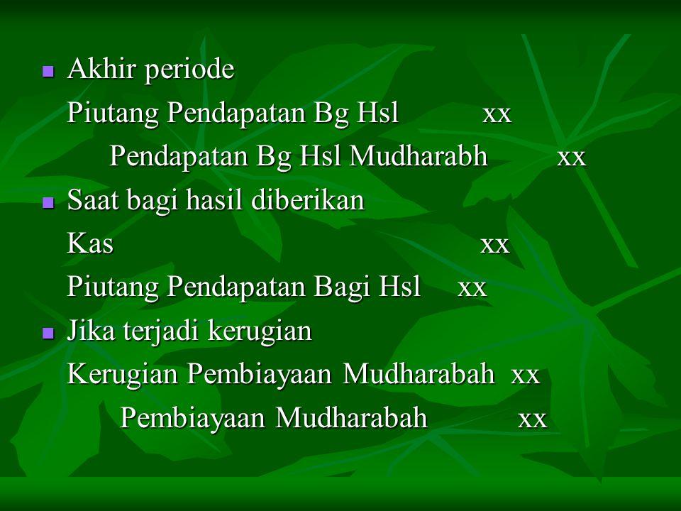 Akhir periode Piutang Pendapatan Bg Hsl xx. Pendapatan Bg Hsl Mudharabh xx. Saat bagi hasil diberikan.
