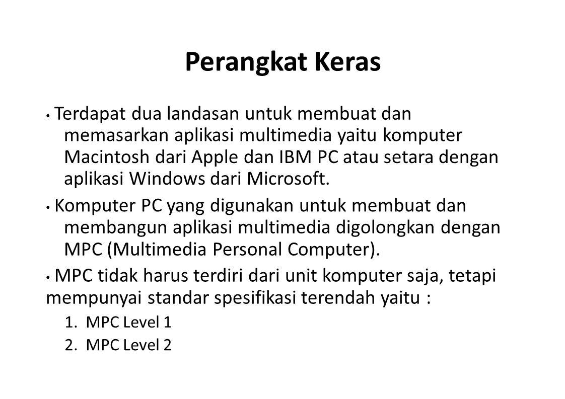 Perangkat Keras memasarkan aplikasi multimedia yaitu komputer