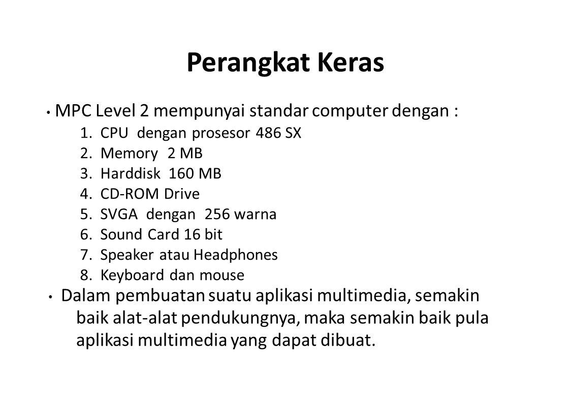 Perangkat Keras 1. CPU dengan prosesor 486 SX 2. Memory 2 MB