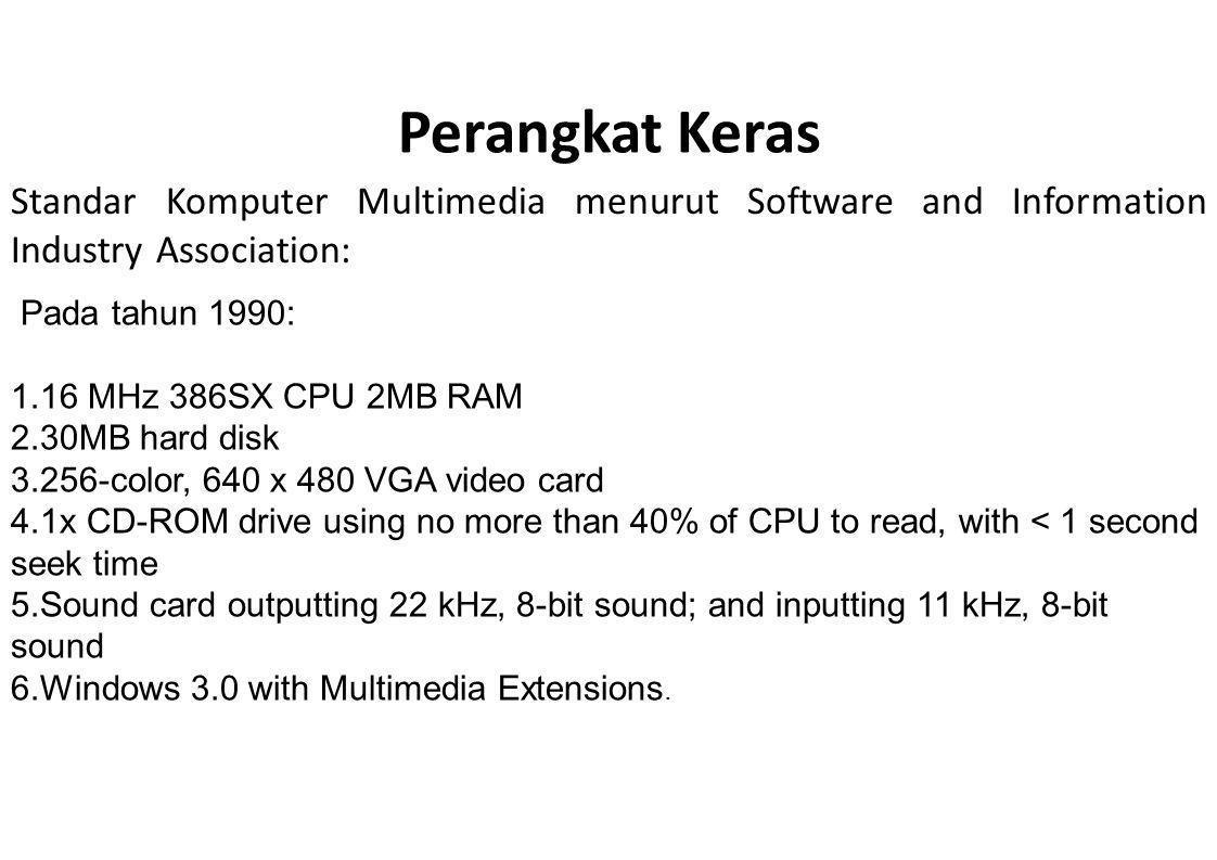 Perangkat Keras Standar Komputer Multimedia menurut Software and Information Industry Association: