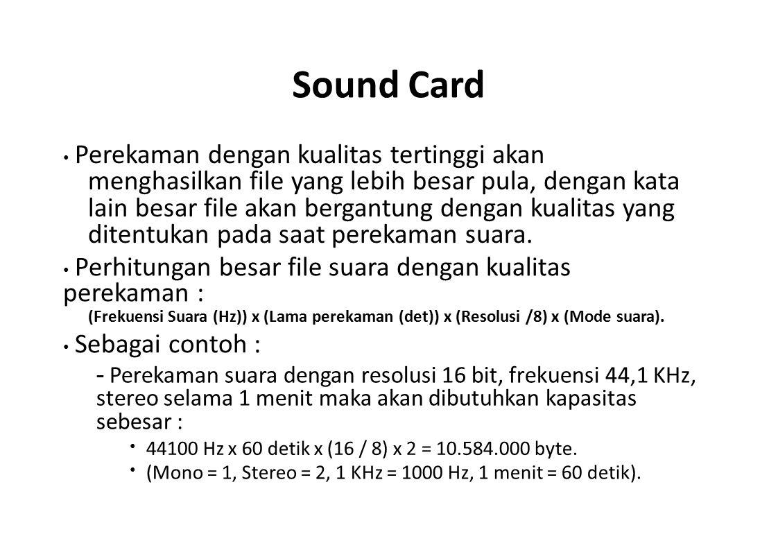 Sound Card • Perekaman dengan kualitas tertinggi akan.