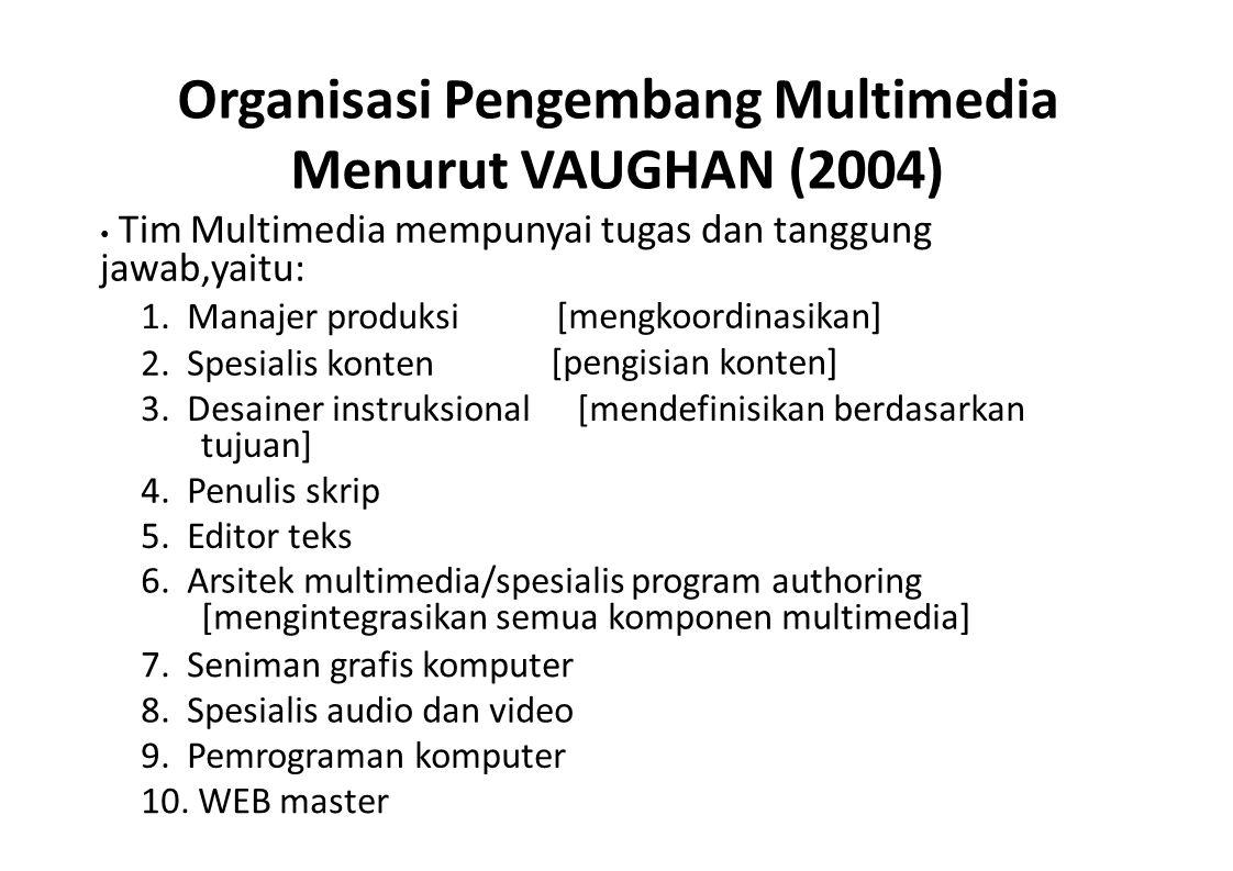 Organisasi Pengembang Multimedia Menurut VAUGHAN (2004)