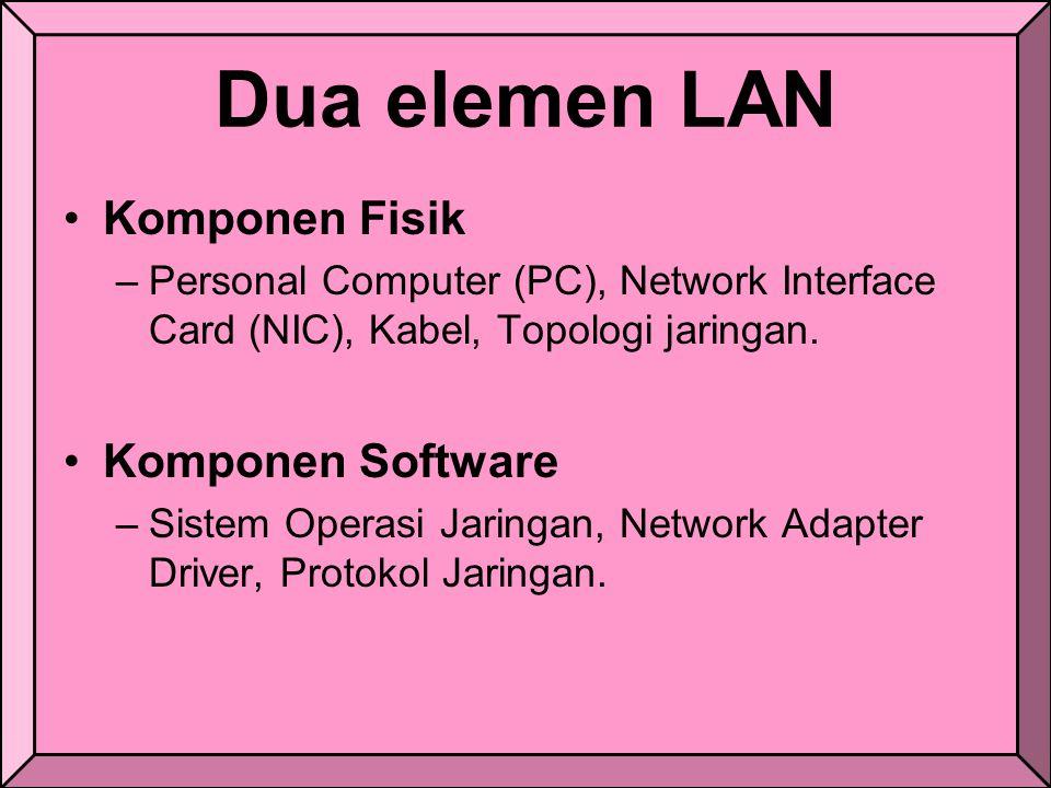 Dua elemen LAN Komponen Fisik Komponen Software