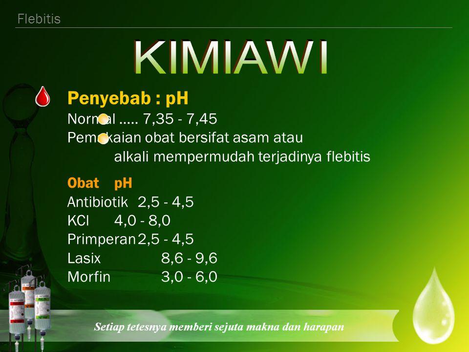KIMIAWI Penyebab : pH Normal ….. 7,35 - 7,45