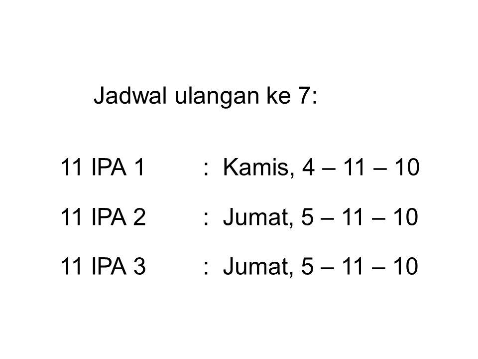 Jadwal ulangan ke 7: 11 IPA 1 : Kamis, 4 – 11 – 10.