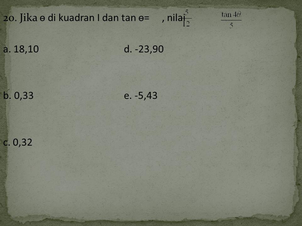 20. Jika ѳ di kuadran I dan tan ѳ= , nilai a. 18,10 d. -23,90 b. 0,33 e. -5,43 c. 0,32