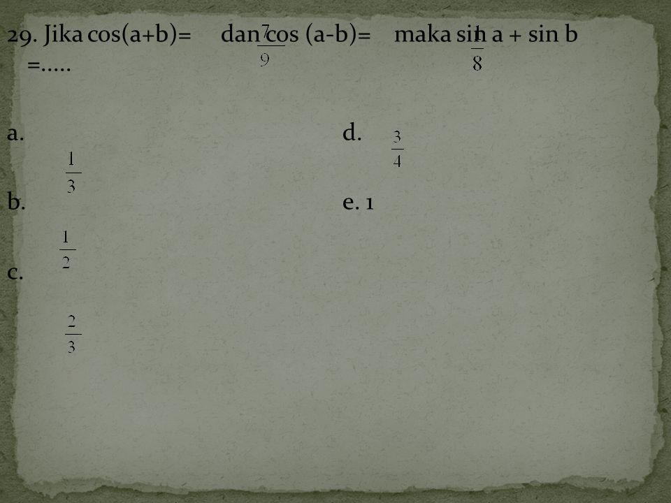 29. Jika cos(a+b)= dan cos (a-b)= maka sin a + sin b =..... a. d. b. e. 1 c.