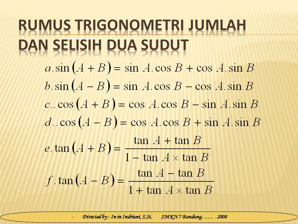 Rumus Trigonometri Jumlah dan Selisih Dua Sudut