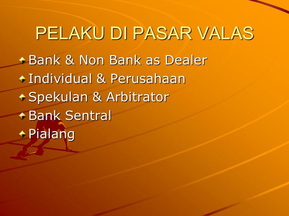 PELAKU DI PASAR VALAS Bank & Non Bank as Dealer