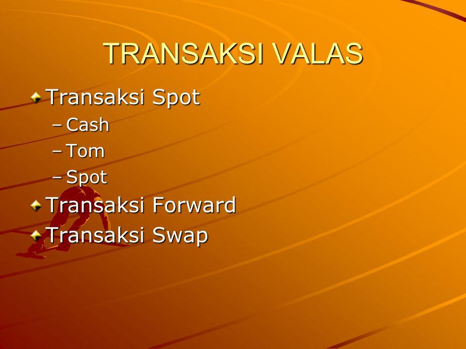 TRANSAKSI VALAS Transaksi Spot Transaksi Forward Transaksi Swap Cash
