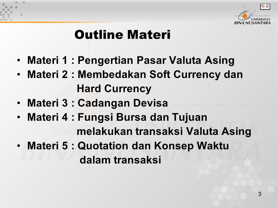 Outline Materi Materi 1 : Pengertian Pasar Valuta Asing
