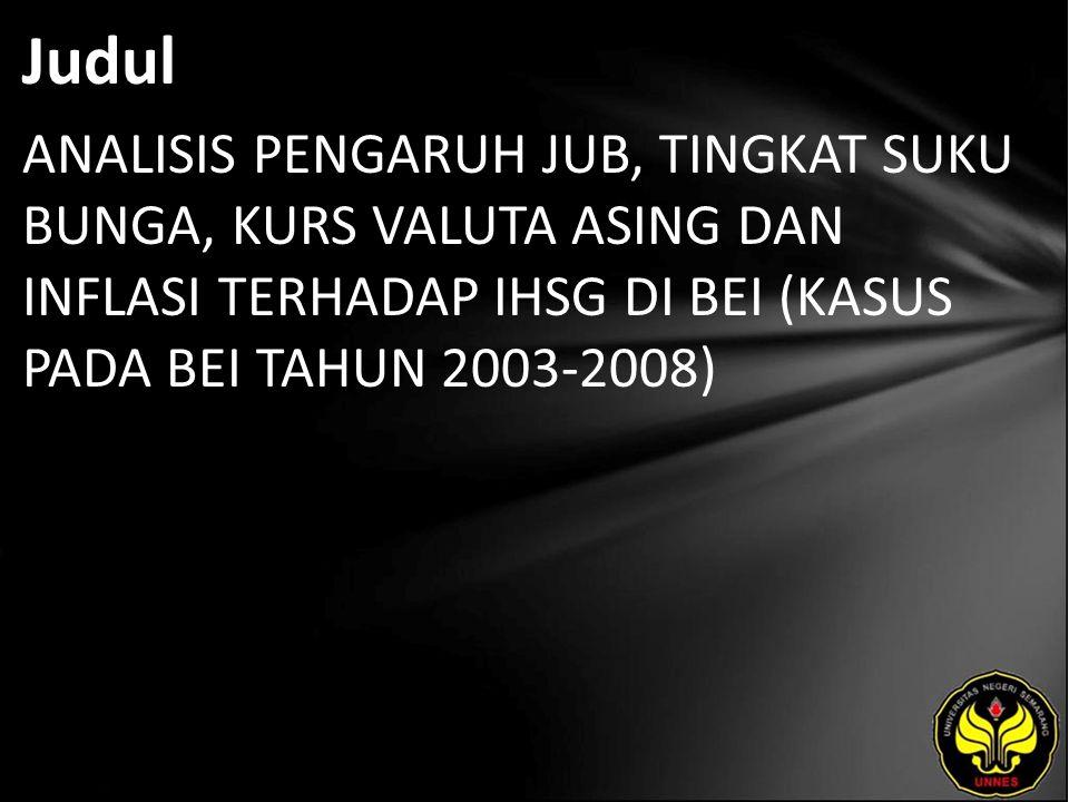 Judul ANALISIS PENGARUH JUB, TINGKAT SUKU BUNGA, KURS VALUTA ASING DAN INFLASI TERHADAP IHSG DI BEI (KASUS PADA BEI TAHUN 2003-2008)