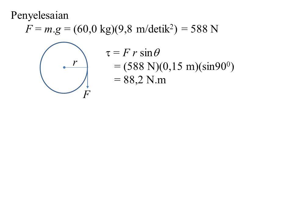 Penyelesaian F = m.g = (60,0 kg)(9,8 m/detik2) = 588 N. F. r. = F r sin = (588 N)(0,15 m)(sin900)