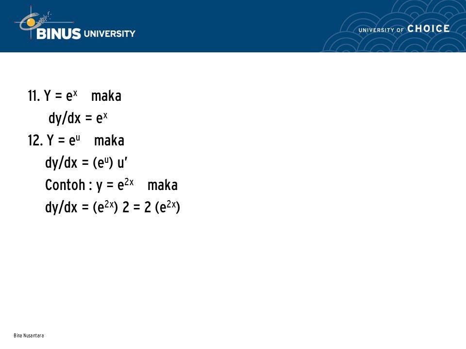 11. Y = ex maka dy/dx = ex 12. Y = eu maka dy/dx = (eu) u'