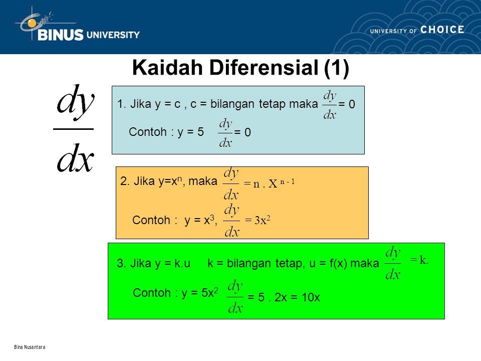 Kaidah Diferensial (1) 1. Jika y = c , c = bilangan tetap maka