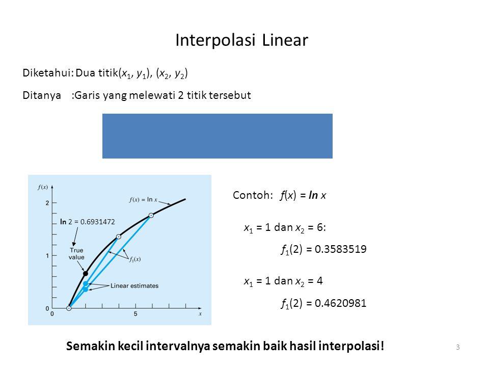 Interpolasi Linear Diketahui: Dua titik(x1, y1), (x2, y2) Ditanya :Garis yang melewati 2 titik tersebut.