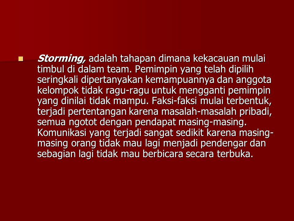 Storming, adalah tahapan dimana kekacauan mulai timbul di dalam team
