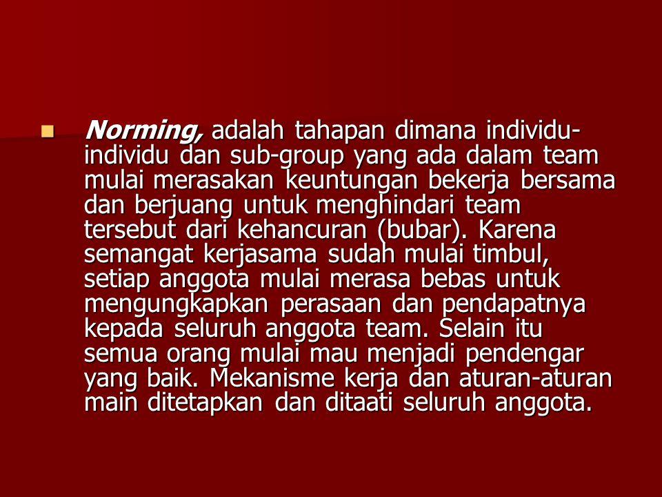Norming, adalah tahapan dimana individu-individu dan sub-group yang ada dalam team mulai merasakan keuntungan bekerja bersama dan berjuang untuk menghindari team tersebut dari kehancuran (bubar).