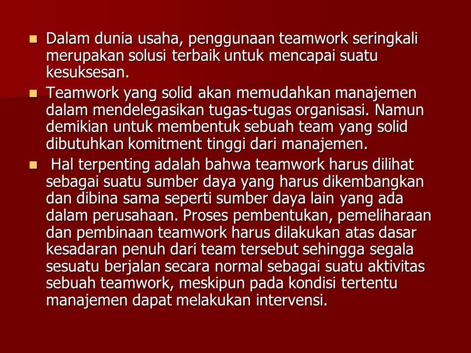 Dalam dunia usaha, penggunaan teamwork seringkali merupakan solusi terbaik untuk mencapai suatu kesuksesan.
