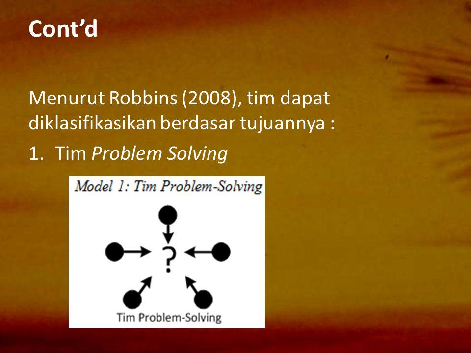 Cont'd Menurut Robbins (2008), tim dapat diklasifikasikan berdasar tujuannya : Tim Problem Solving