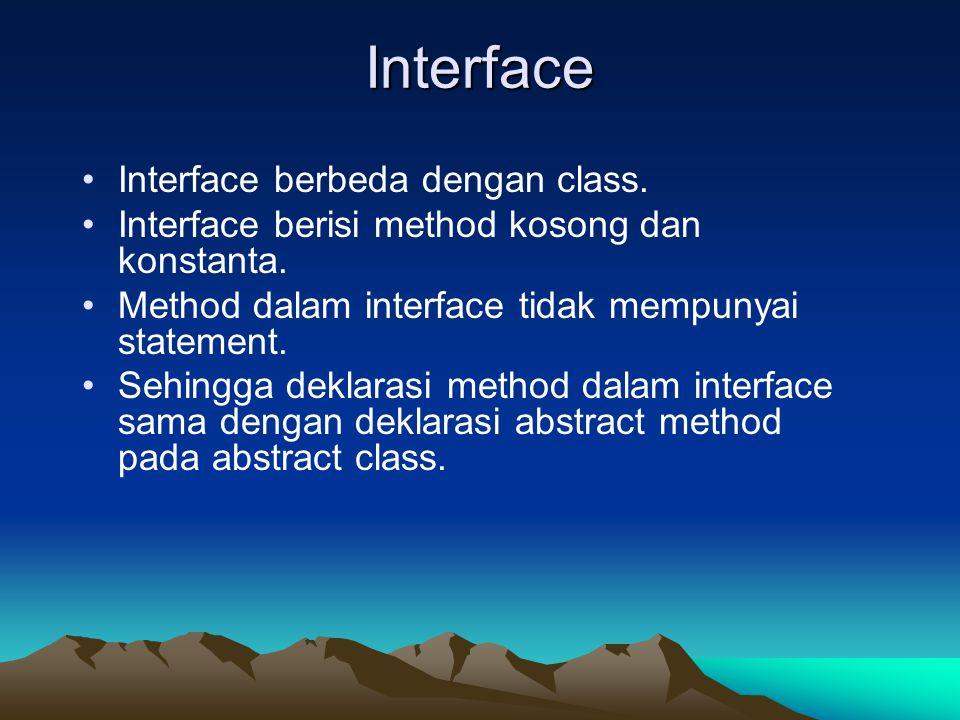 Interface Interface berbeda dengan class.