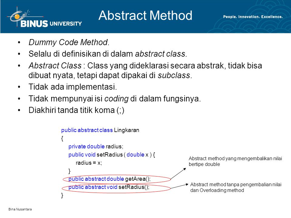 Abstract Method Dummy Code Method.