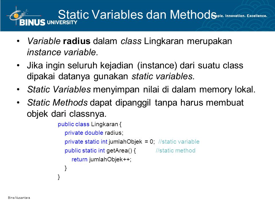 Static Variables dan Methods