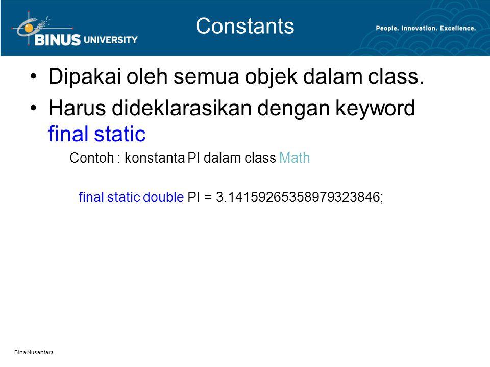 Dipakai oleh semua objek dalam class.