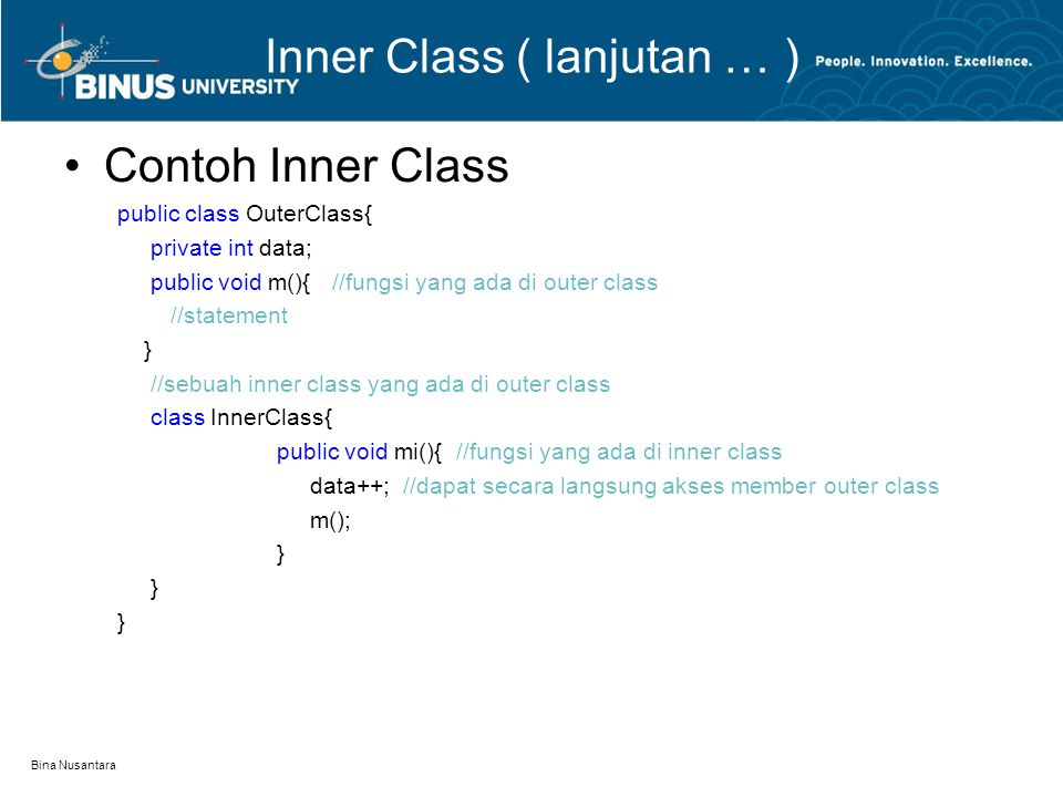Inner Class ( lanjutan … )