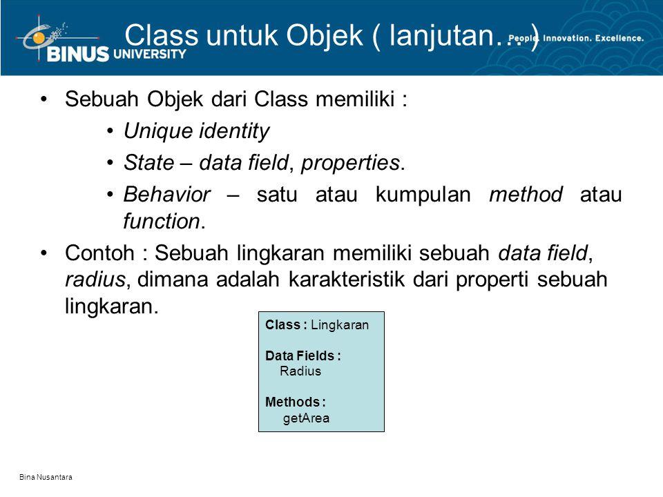 Class untuk Objek ( lanjutan… )