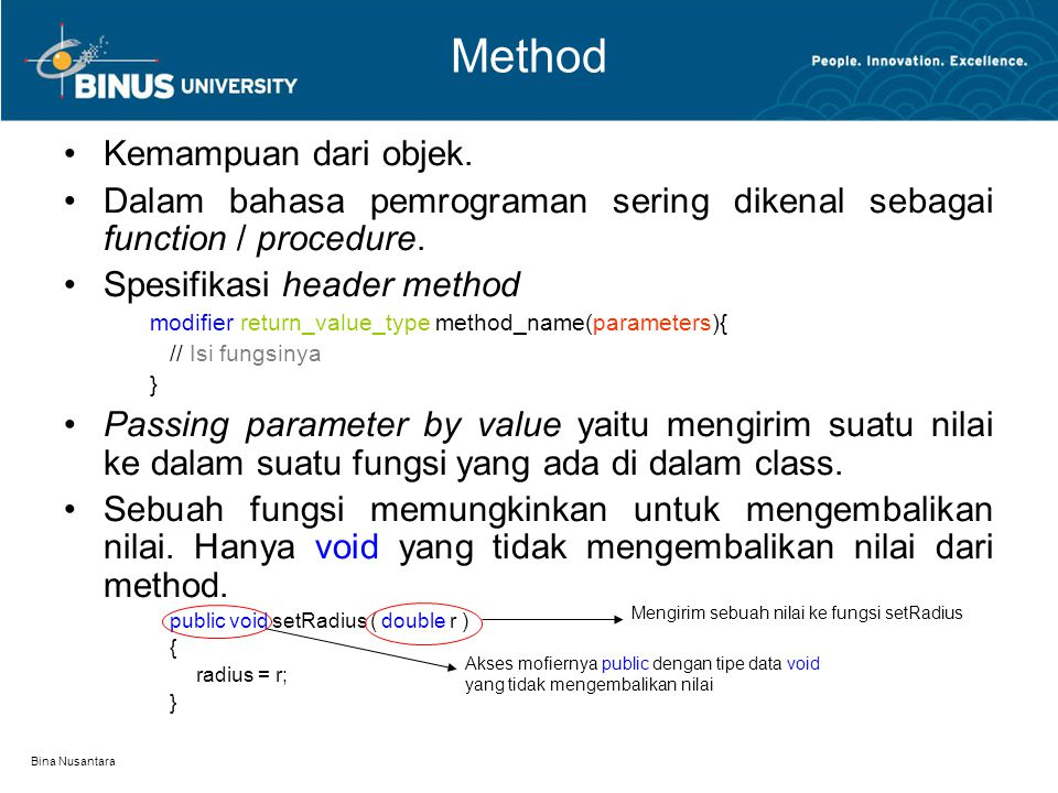 Method Kemampuan dari objek.