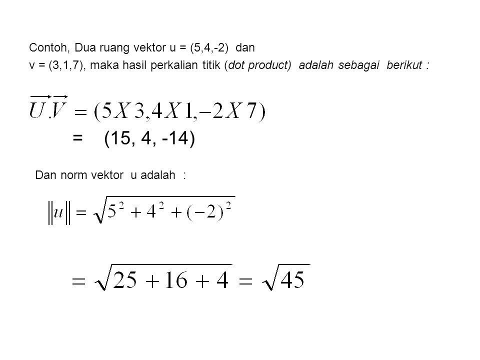 Contoh, Dua ruang vektor u = (5,4,-2) dan v = (3,1,7), maka hasil perkalian titik (dot product) adalah sebagai berikut :