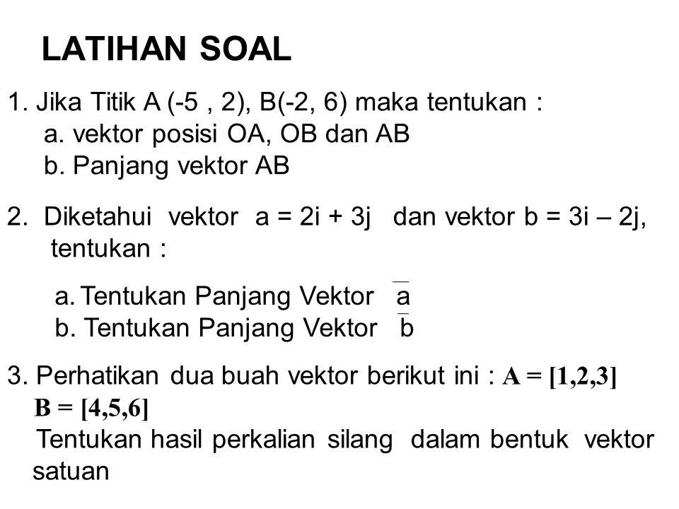 LATIHAN SOAL 1. Jika Titik A (-5 , 2), B(-2, 6) maka tentukan :