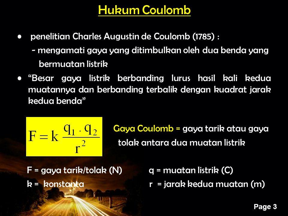 Hukum Coulomb penelitian Charles Augustin de Coulomb (1785) :